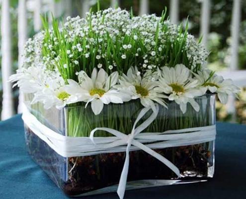 تزیین سبزه عید با گل های رنگی